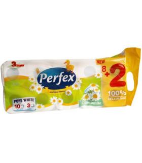 PERFEX HARTIE IGIENICA PARFUMATA 3 STRATURI 10 ROLE/SET, 14,4M